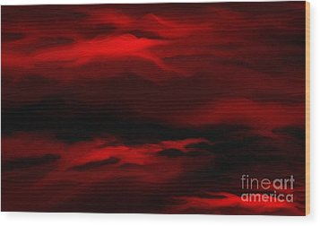 Sun Sets In Red Wood Print