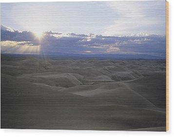 Sun Sets Over Miles Of Sand Dunes Wood Print by Taylor S. Kennedy