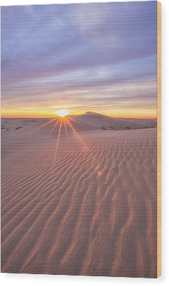 Wood Print featuring the photograph Sun Setting At The Dunes by Patricia Davidson