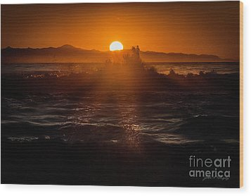 Wood Print featuring the photograph Sun Setting Behind Santa Cruz Island by John A Rodriguez