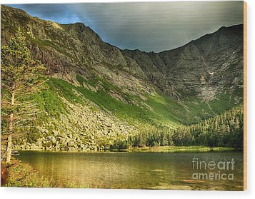Sun Shining On Chimney Pond  Wood Print