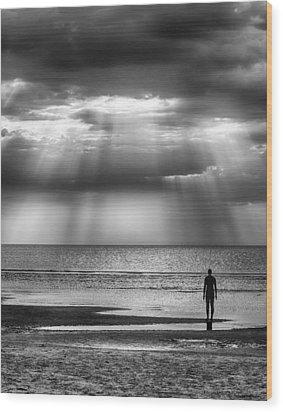 Sun Through The Clouds Bw 11x14 Wood Print