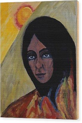 Sun Woman Wood Print