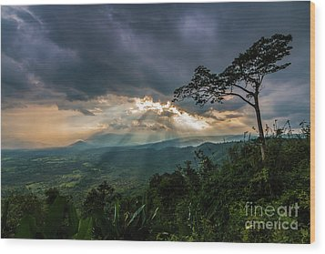 Wood Print featuring the photograph Sunbeam Befor Rainny by Tosporn Preede