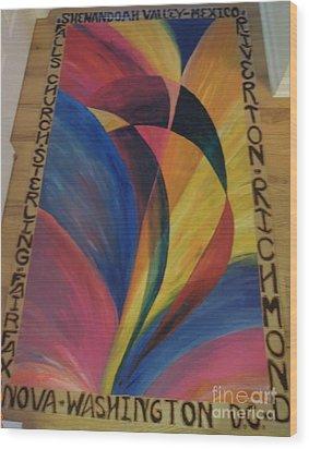 Sunburst Floorcloth Wood Print