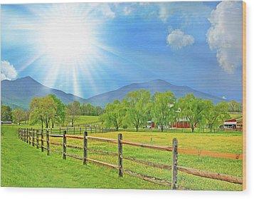 Sunburst Over Peaks Of Otter, Virginia Wood Print by The American Shutterbug Society