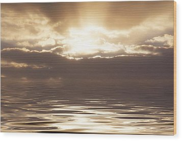 Sunburst Over Water Wood Print by Bill Cannon