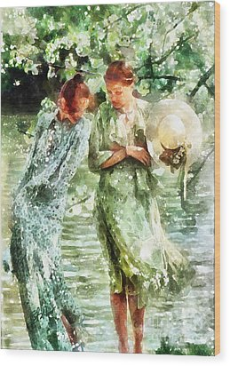 Sunday Afternoon By The Lake Wood Print by Shirley Stalter