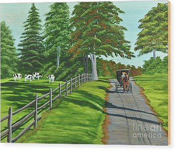 Sunday Drive Wood Print by Charlotte Blanchard
