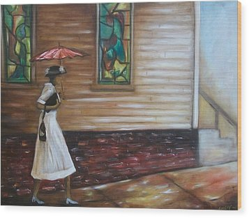 Wood Print featuring the painting Sunday by Emery Franklin