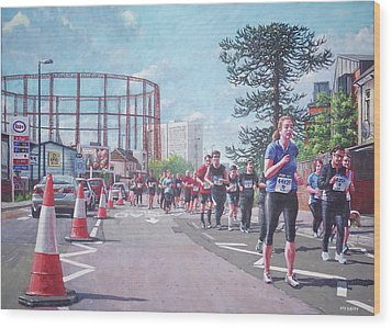 Wood Print featuring the painting Sunday Morning Abp Marathon. Northam, Southampton  by Martin Davey