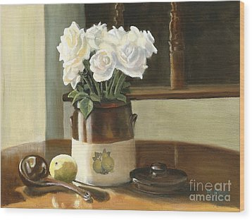 Wood Print featuring the painting Sunday Morning And Roses - Study by Marlene Book