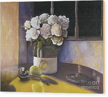 Wood Print featuring the painting Sunday Morning And Roses Redux by Marlene Book