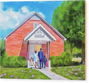Wood Print featuring the painting Sunday Morning In South Georgia by Mark Tisdale
