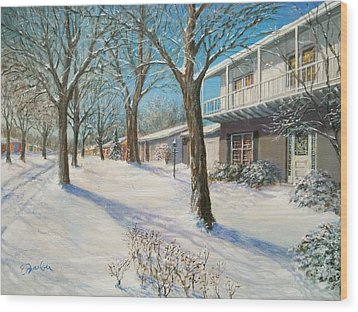 Sunday Morning Snow Wood Print by Edward Farber