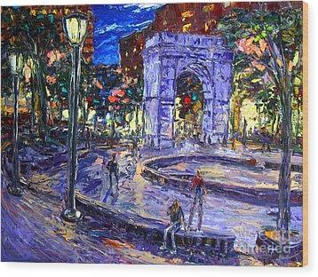 Sunday Night In Washington Square Park Wood Print by Arthur  Robins