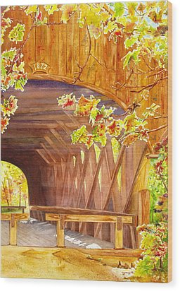 Sunday River Bridge Wood Print by Karen Fleschler