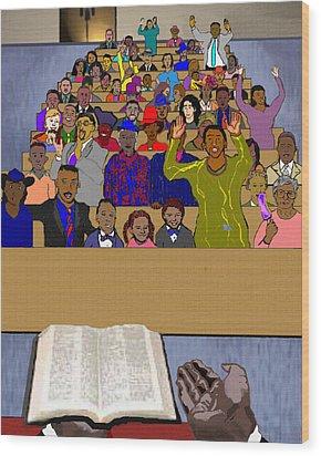 Sunday Sermon Wood Print by Pharris Art