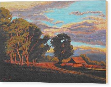 Sundown On The Ranch Wood Print