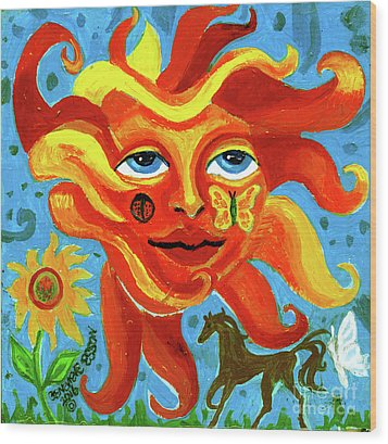 Wood Print featuring the painting Sunface With Butterfly And Horse by Genevieve Esson