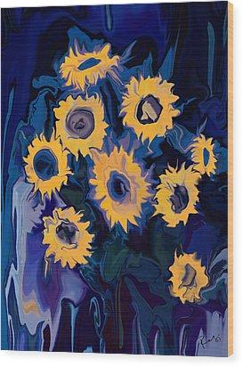 Wood Print featuring the digital art Sunflower 1 by Rabi Khan