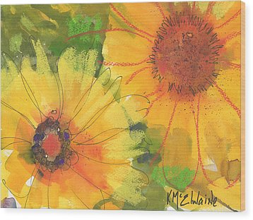 Big Sunflowers Watercolor And Pastel Painting Sf018 By Kmcelwaine Wood Print