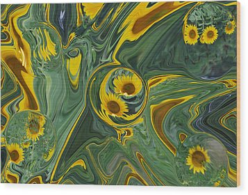 Sunflower Abstract Wood Print by Michelle  BarlondSmith