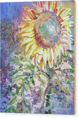 Sunflower And Grasshopper Wood Print by Mary Haley-Rocks