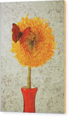 Sunflower And Red Butterfly Wood Print by Garry Gay