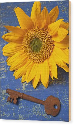 Sunflower And Skeleton Key Wood Print by Garry Gay