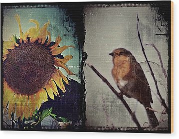 Sunflower Bird Diptych Wood Print by Patricia Strand