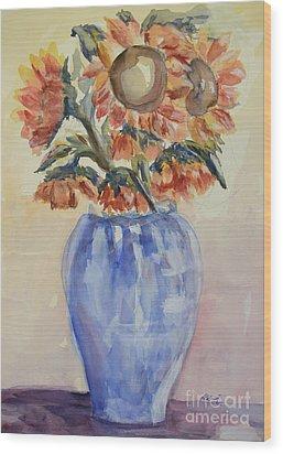 Sunflower Bouquet Wood Print by Heather Kertzer