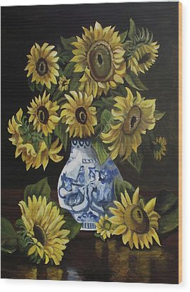 Sunflower Bouquet Wood Print by Kim Selig
