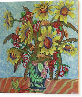 Sunflower Bouquet With Butterfly Wood Print