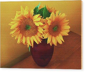 Sunflower Corner Wood Print