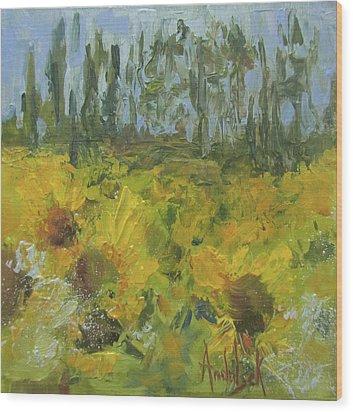 Sunflower Field Wood Print by Barbara Andolsek