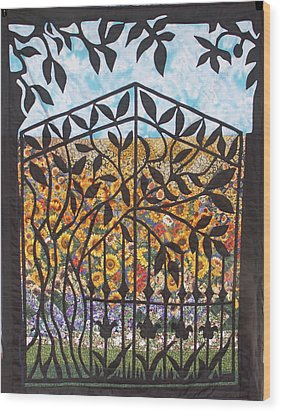 Sunflower Garden Gate Wood Print