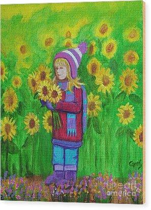 Sunflower Girl Wood Print by Nick Gustafson
