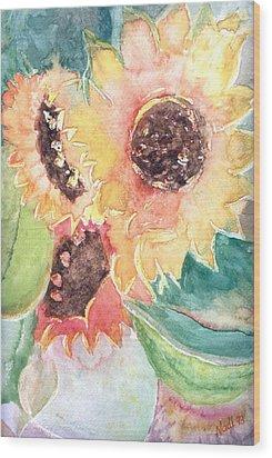 Sunflower Glory Wood Print by Renate Nadi Wesley