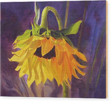 Wood Print featuring the painting Sunflower Glow by Marina Petro