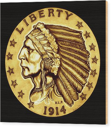 Sunflower Gold Quarter Eagle Wood Print by Fred Larucci