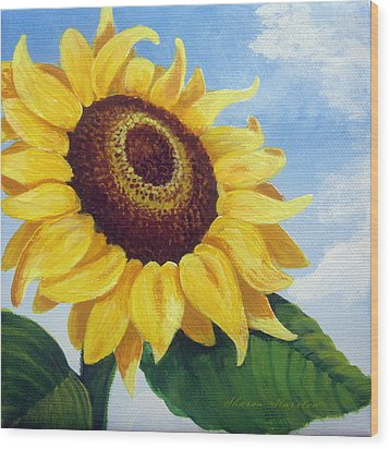 Sunflower Moment Wood Print by Sharon Marcella Marston