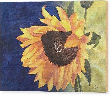 Sunflower Wood Print by Monika Deo