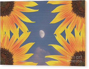 Sunflower Moon Wood Print