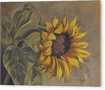 Sunflower Nod Wood Print by Cheryl Pass