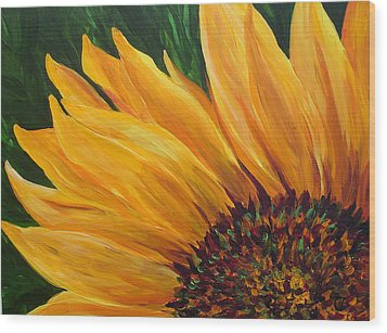 Sunflower Oil Painting Wood Print by Mary Jo Zorad