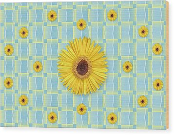 Sunflower Pattern Wood Print