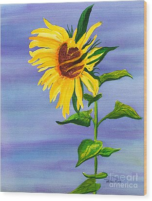 Sunflower Wood Print by Pauline Ross