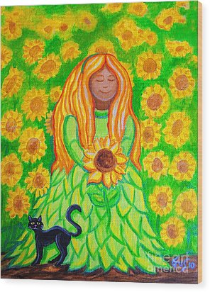 Sunflower Princess Wood Print by Nick Gustafson