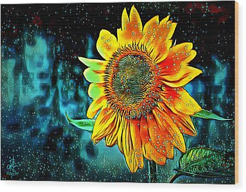 Wood Print featuring the digital art Sunflower Rain by Pennie McCracken